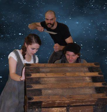Taylor Morrow as Molly, Jonathan Davidson as Black Stache, and Alexander Sloan as Peter